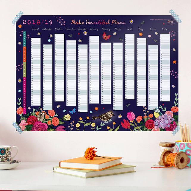 2018 to 2019 Wall Planner - Make Beautiful Plans (Aug 2018 to Sep 2019)