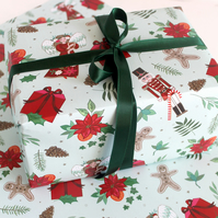 Nutcracker Christmas Wrapping Paper, Floral Christmas Gift Wrap Pack of 2 Sheets