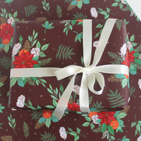 Poinsettia Christmas Wrapping Paper, Floral Christmas Gift Wrap Pack of 2 Sheets