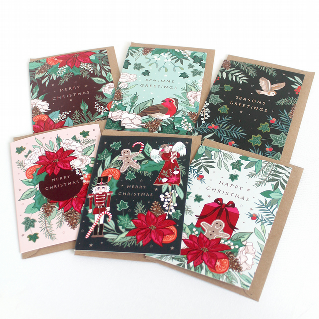 Set of 6 Woodland, Floral Christmas Cards