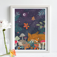 'Hibernation' Fox and Hedgehog illustration print, nursery wall art