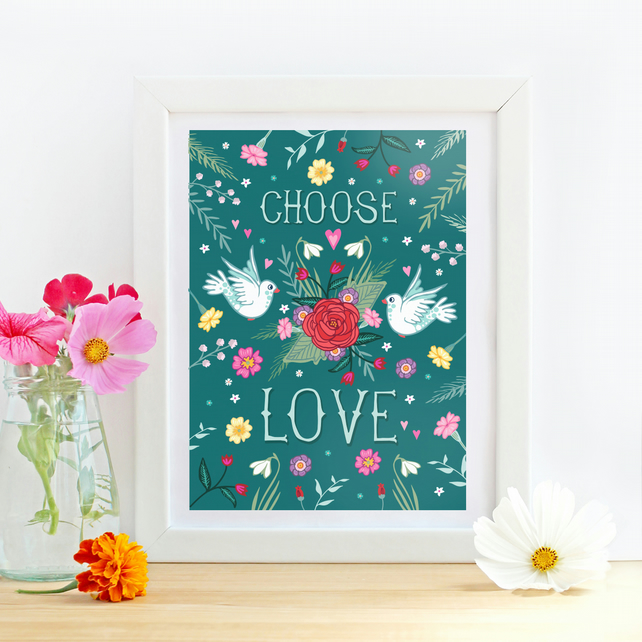 'Choose Love' Doves and Roses Floral illustration print, nursery wall art