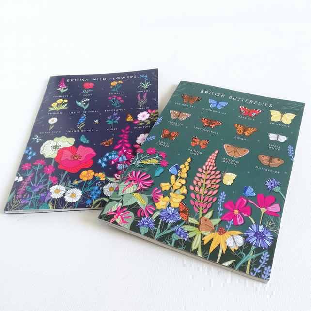 Set of 2 A5 British Nature Guide Note Books, Sketch Pads