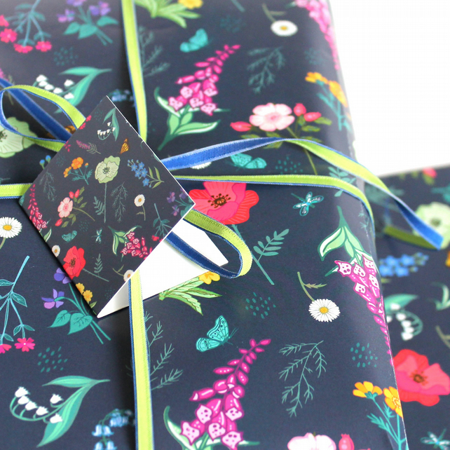Gift Wrap Single Sheet with tag, British Wildflowers