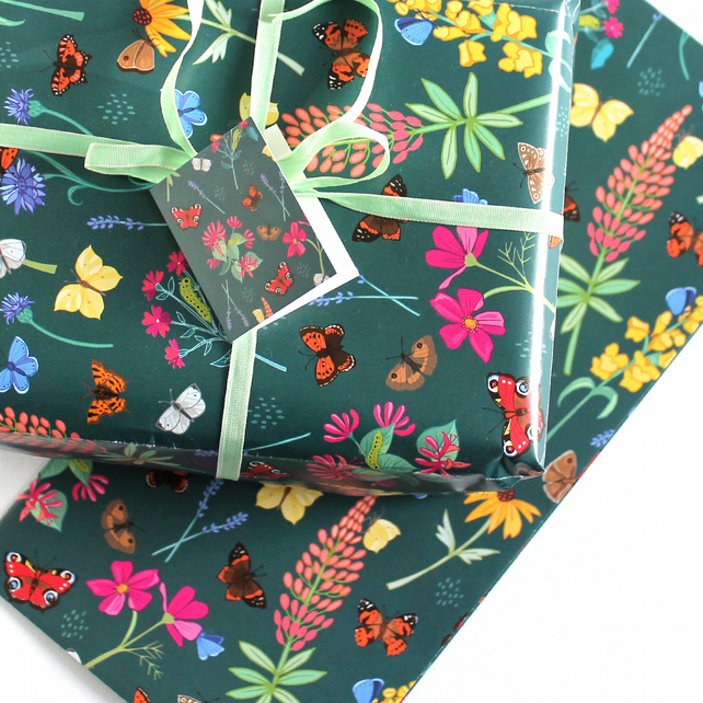 Gift Wrap Single Sheet with tag, British Butterflies