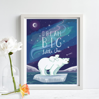 'Dream Big Little One' illustration print, nursery wall art, free UK shipping.