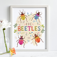 'The Beetles' illustration print, nursery wall art, free UK shipping.