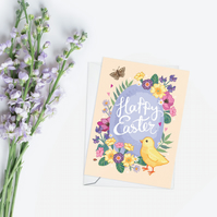 Happy Easter Chick and Easter Egg Card