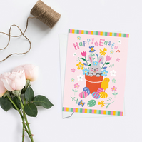 Pink Happy Easter Bunny Card