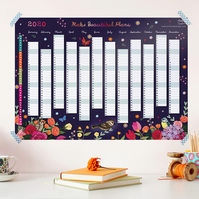 Year to View Wall Planner, Make Beautiful Plans, Academic Year or Full Year 2020