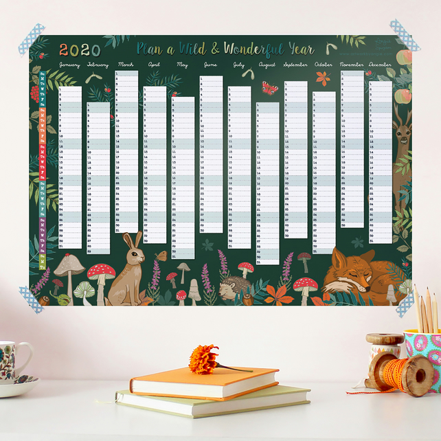 Wall Planner, Plan a Wild and Wonderful Year 2020 Calendar