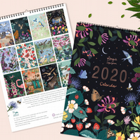 2020 Illustrated Wall Calendar of Wildlife and Flowers