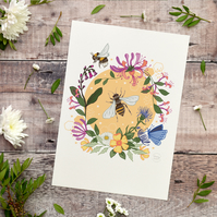 'Bees and Honeysuckle' Illustration Print A4 Unframed