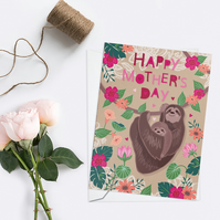 Cute Mother's Day Card, Mother and Baby Sloth Card