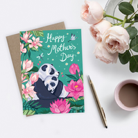 Cute Mother's Day Card, Mother and Baby Panda Card