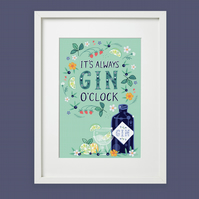 Gin O'Clock Wall Art Print, Gift for a Gin Lover