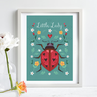 Little Lady, Ladybird Illustration Print A4 Unframed, Nursery Wall Art, Kids Art