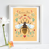 Queen Bee, Honey Bee Illustration Print A4 Unframed, Nursery Wall Art, Kids Art