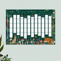 Year Wall Planner,  Plan A Wild and Wonderful Year for 2021