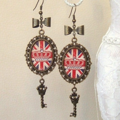 Cool Brittania-Vintage Style Union Jack Earrings-Altered Art