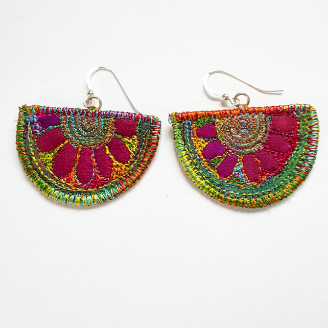 Stitched Silk Textile Earrings
