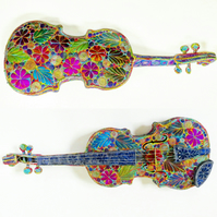 Stitched 3D Lifesize Violin Free Machine Embroidery Textile Art Hand Dyed