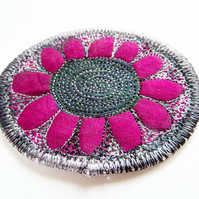 Textile Flower Brooch
