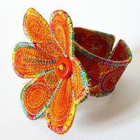 Flower Cuff Alternative Wedding or Prom Wrist Band
