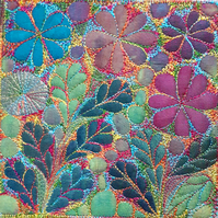 Textile Canvas Flowers and Leaves Wall Art