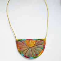 Stitched Silk Textile Necklace