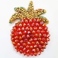 Textile and Glass Bead Pomegranate Brooch