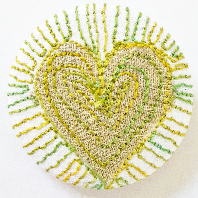 38mm Stitched Silk Heart Badge