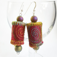 Stitched Silk and Cotton Textile Earrings, Sterling Silver and Druzy Agate Beads