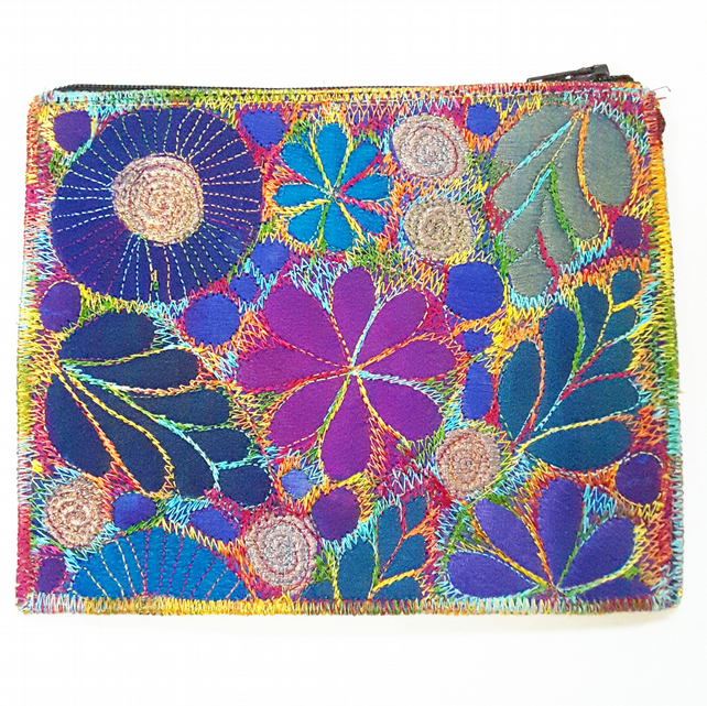 Stitched Silk and Cotton Purse