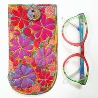 Glasses Case with Free Machine Embroidery and Appliqué