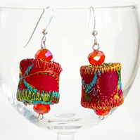 Textile Earrings with Multifaceted Crystal Beads