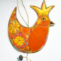 Christmas Robin with Gold Crown Hanging Decoration