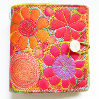 Sewing Needle Case with Free Machine Embroidery in a Botanical Theme