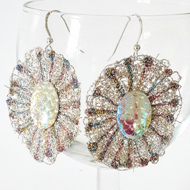 Embroidered Holographic Earrings with Sterling Silver Earwires