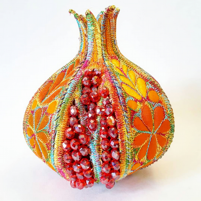 Pomegranate Textile Art 3D Sculpture