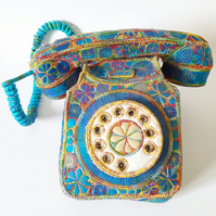 Telephone Textile Art Free Machine Embroidery Hand Dyed Cotton and Vibrant Silk