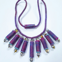 Statement Textile Bead Necklace with Glass Beads and Hand Dyed Cord