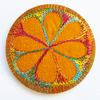 Pocket Mirror 58mm Fabric Pocket Mirror Free Machine Embroidery