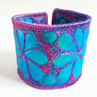 Textile Jewel Like Quilted Cuff with Free Machine Embroidery