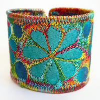 Textile Cuff with Free Machine Embroidery