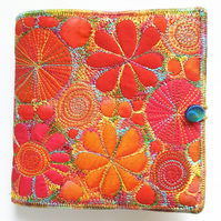 Textile Art Book Cover with Square Sketchbook