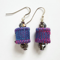 Textile Bead Earrings with Sterling Silver Earwires