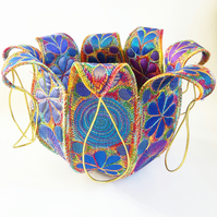 Textile Bowl in Jewel Like Colours Free Machine Embroidery Vibrant Botanical