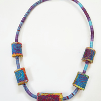 Textile Bead Necklace