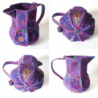 Textile Art Jug Free Machine Embroidery Vibrant Colourful Botanical Hand Dyed